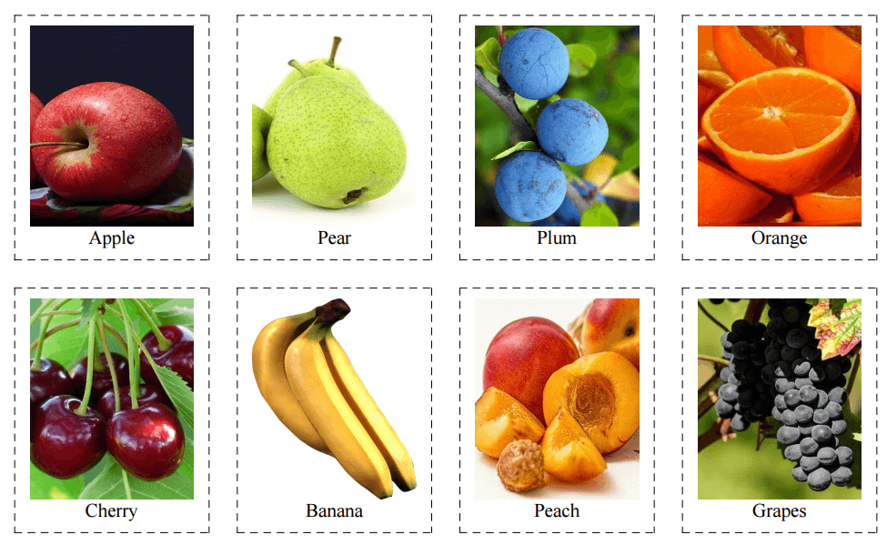 24 Flashcards of Fruits and Berries