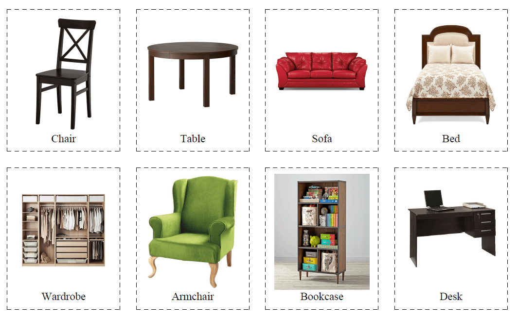 32 Flashcards of Furniture