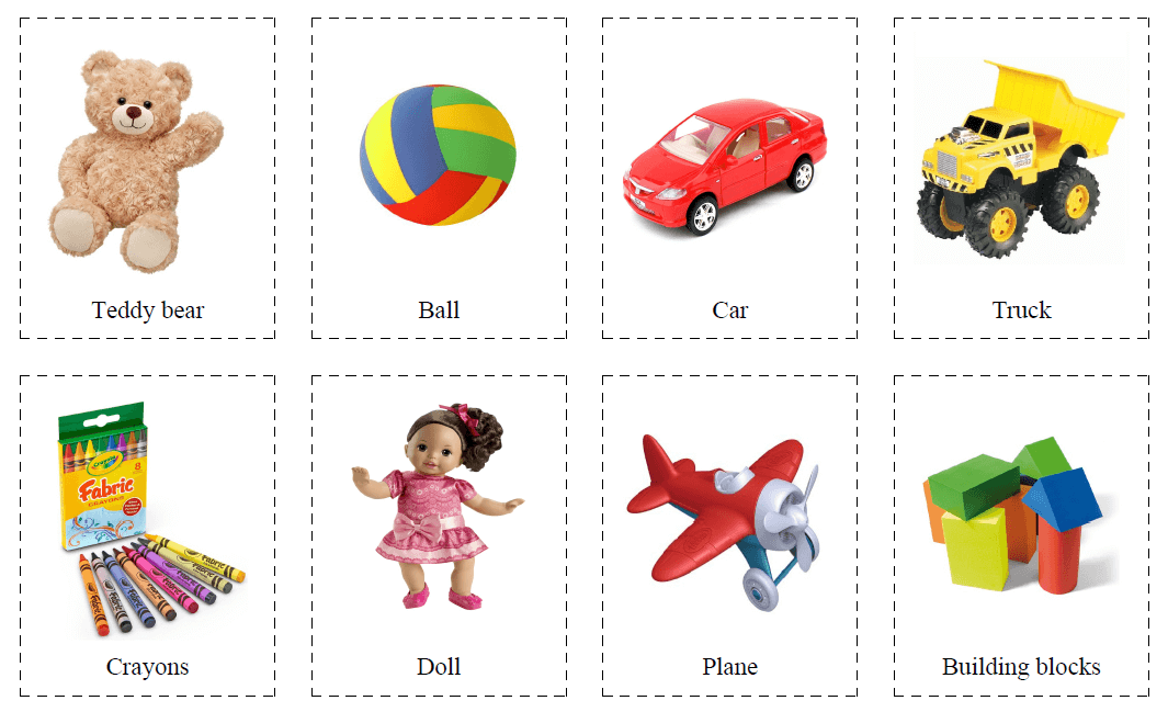 32 Flashcards of Toys for Kids