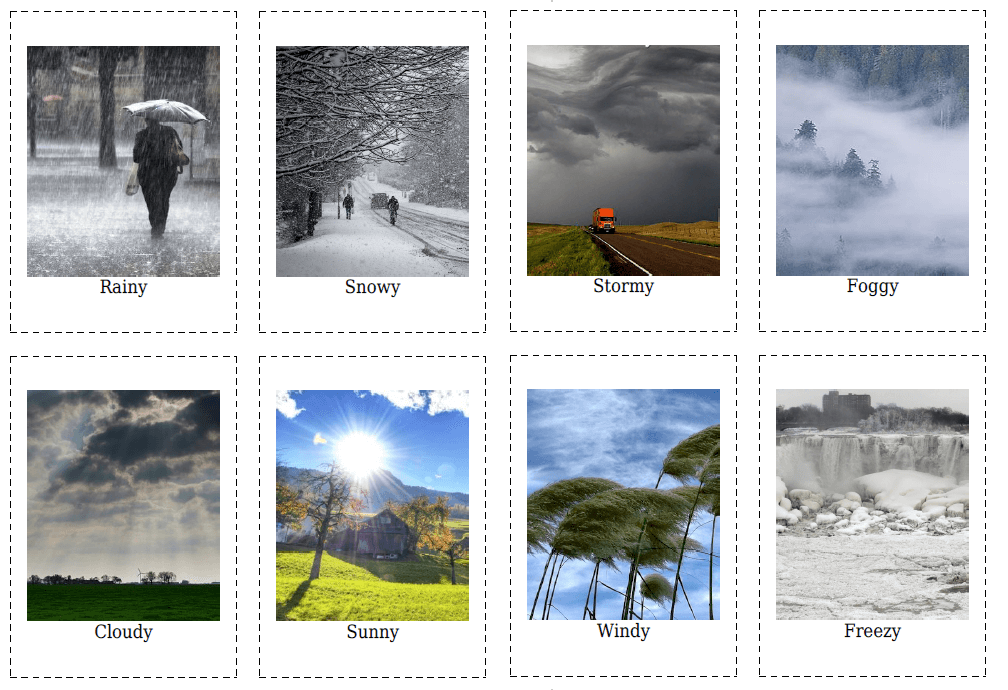 20 Flashcards of Weather & Seasons