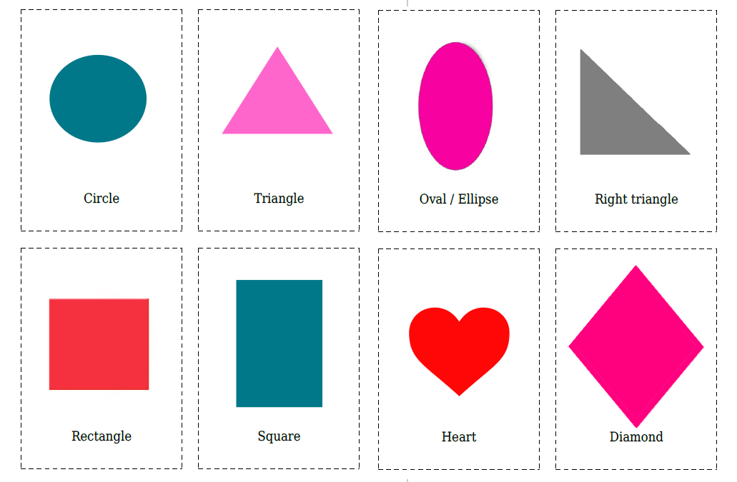 16 Flashcards of Shapes