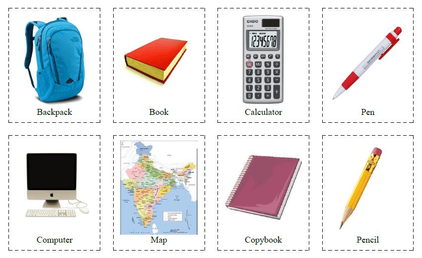 32 Flashcards of School Supplies
