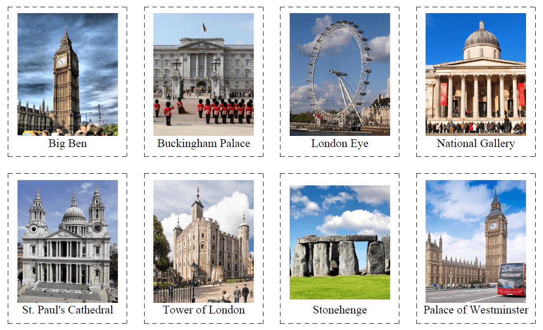 40 Flashcards of British Sights