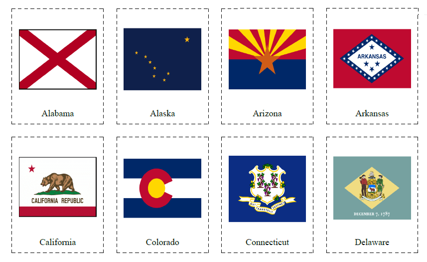 50 Flashcards of US States