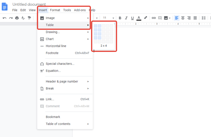 add table google docs